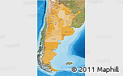 Political Shades 3D Map of Argentina, satellite outside, bathymetry sea