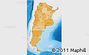 Political Shades 3D Map of Argentina, single color outside