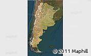 Satellite 3D Map of Argentina, darken