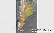 Satellite 3D Map of Argentina, desaturated