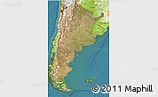 Satellite 3D Map of Argentina, physical outside, satellite sea