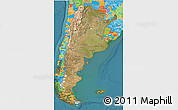 Satellite 3D Map of Argentina, political outside, satellite sea
