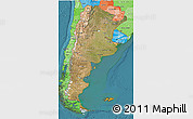 Satellite 3D Map of Argentina, political shades outside, satellite sea