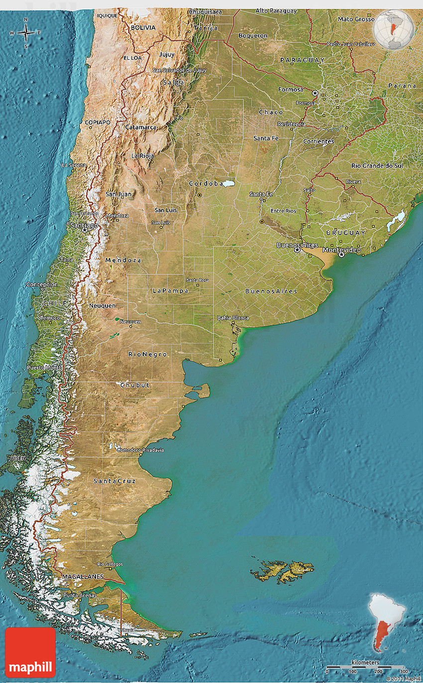 Satellite D Map Of Argentina - Map argentina