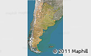 Satellite 3D Map of Argentina, semi-desaturated, land only