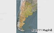 Satellite 3D Map of Argentina, semi-desaturated