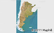Satellite 3D Map of Argentina, single color outside