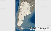 Shaded Relief 3D Map of Argentina, darken