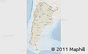 Shaded Relief 3D Map of Argentina, lighten