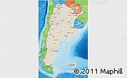 Shaded Relief 3D Map of Argentina, political shades outside, shaded relief sea