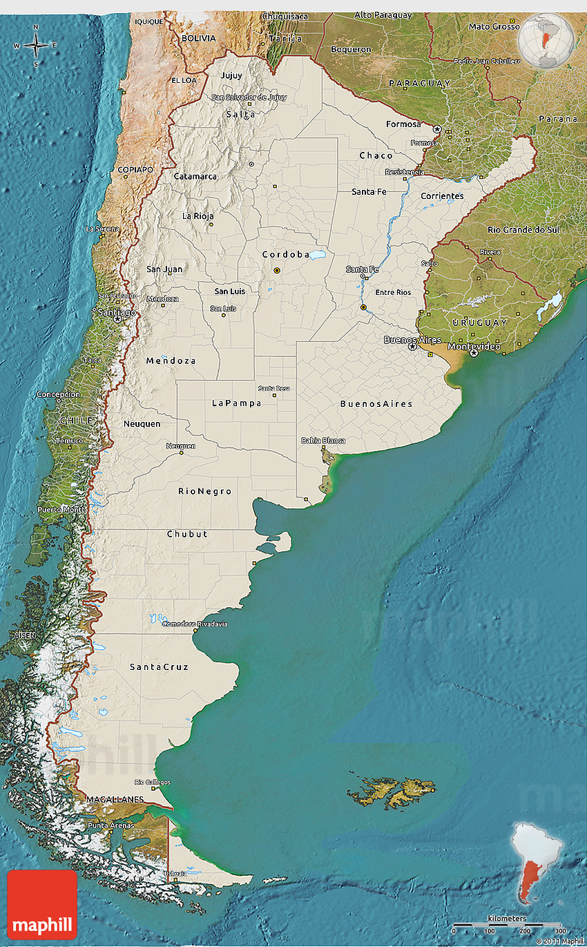 Shaded Relief D Map Of Argentina Satellite Outside - Argentina 3d map