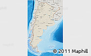Shaded Relief 3D Map of Argentina, semi-desaturated, land only