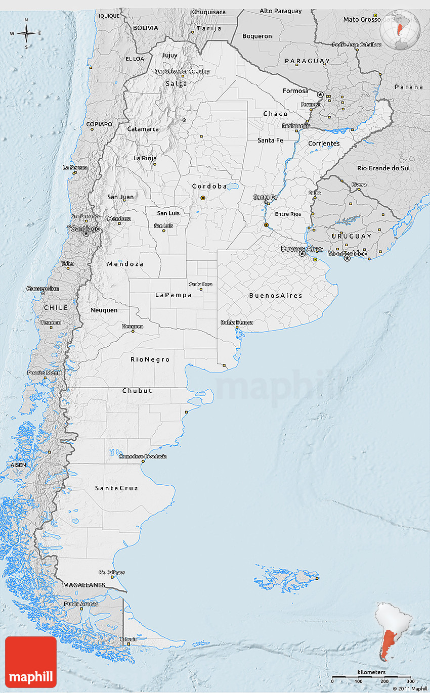 Silver Style D Map Of Argentina - Argentina 3d map