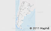 Silver Style 3D Map of Argentina, single color outside
