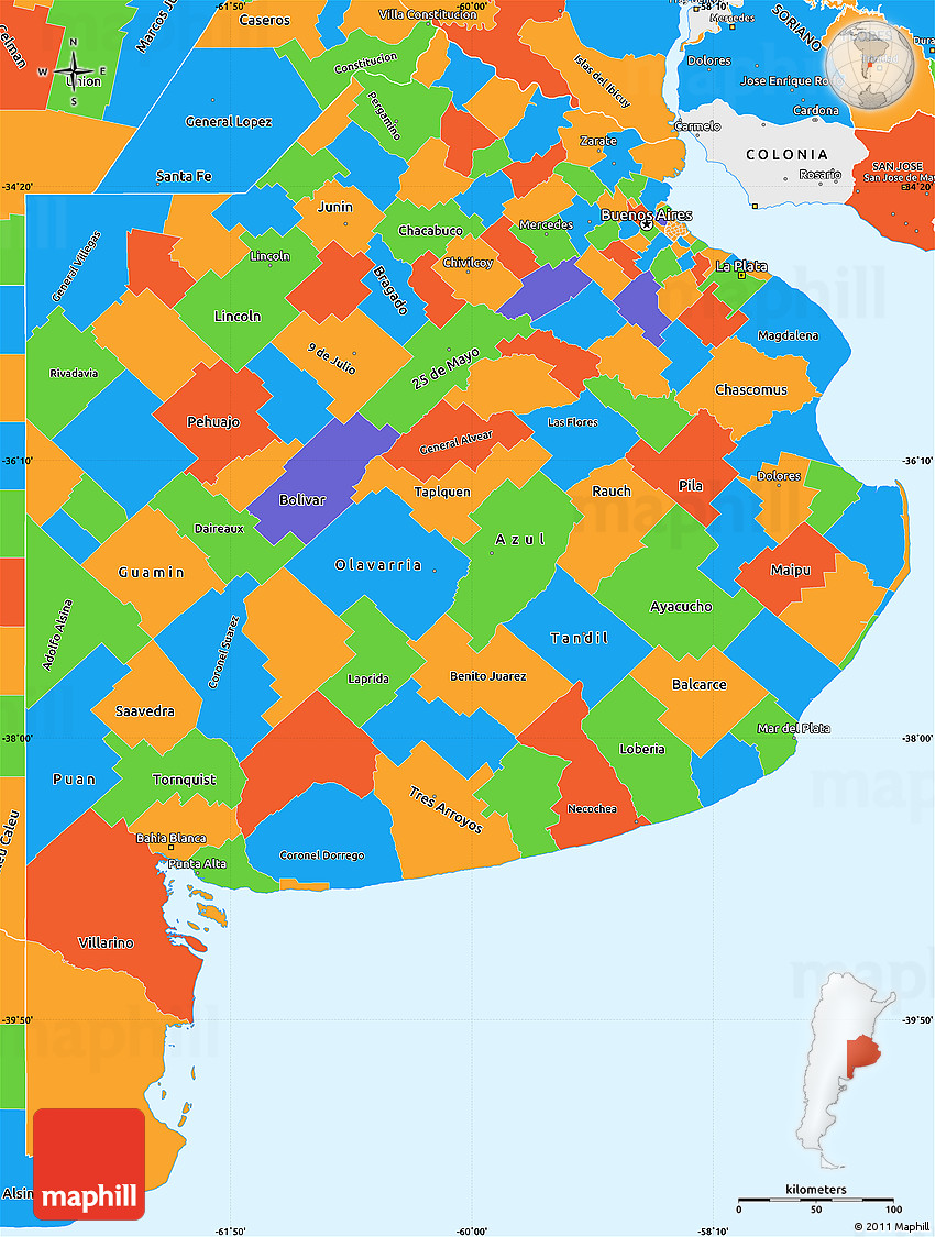 Political Simple Map of Buenos Aires
