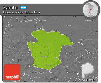 Free Physical Map Of Zarate Desaturated - Zarate argentina map
