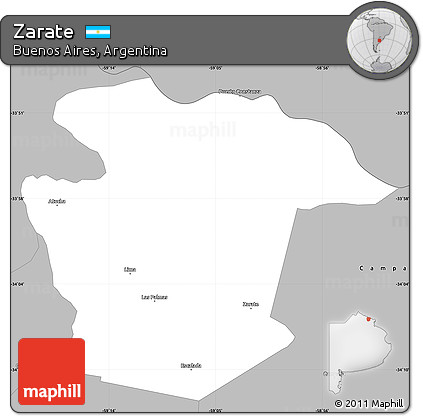 Free Gray Simple Map Of Zarate - Zarate argentina map