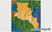 Political Shades 3D Map of Catamarca, darken