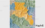 Political Shades 3D Map of Catamarca, semi-desaturated