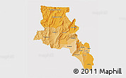 Political Shades 3D Map of Catamarca, single color outside