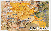 Political Shades Panoramic Map of Catamarca, satellite outside
