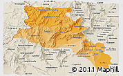 Political Shades Panoramic Map of Catamarca, shaded relief outside