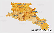 Political Shades Panoramic Map of Catamarca, single color outside