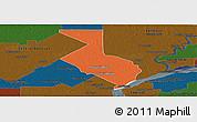 Political Panoramic Map of 1ro. de Mayo, darken