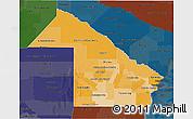 Political Shades 3D Map of Chaco, darken