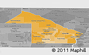 Political Shades Panoramic Map of Chaco, desaturated
