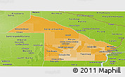 Political Shades Panoramic Map of Chaco, physical outside