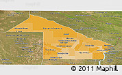 Political Shades Panoramic Map of Chaco, satellite outside