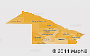 Political Shades Panoramic Map of Chaco, single color outside