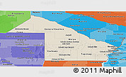 Shaded Relief Panoramic Map of Chaco, political shades outside