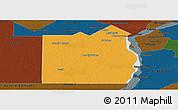 Political Panoramic Map of San Fernando, darken