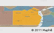 Political Panoramic Map of San Fernando, semi-desaturated