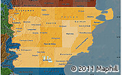 Political Shades Map of Chubut, darken