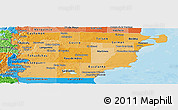 Political Shades Panoramic Map of Chubut