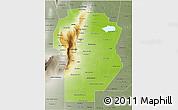 Physical 3D Map of Cordoba, semi-desaturated