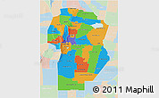 Political 3D Map of Cordoba, lighten