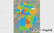 Political 3D Map of Cordoba, semi-desaturated