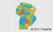 Political 3D Map of Cordoba, single color outside