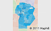 Political Shades 3D Map of Cordoba, lighten