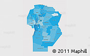 Political Shades 3D Map of Cordoba, single color outside