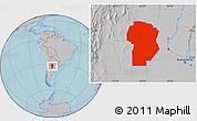 Gray Location Map of Cordoba, hill shading