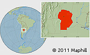 Savanna Style Location Map of Cordoba, hill shading