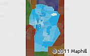 Political Shades Map of Cordoba, darken