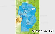 Political Shades Map of Cordoba, physical outside