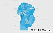 Political Shades Map of Cordoba, single color outside
