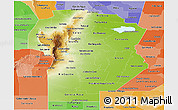 Physical Panoramic Map of Cordoba, political shades outside